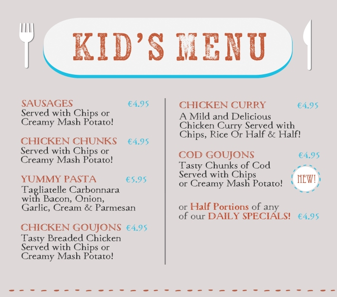 children's menu web