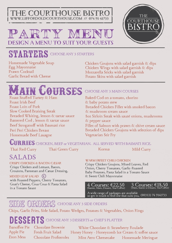Courthouse Bistro Party Menu
