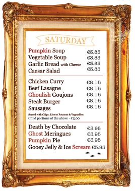 Halloween Menu Saturday
