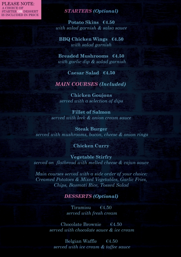 Ladies night menu final 2