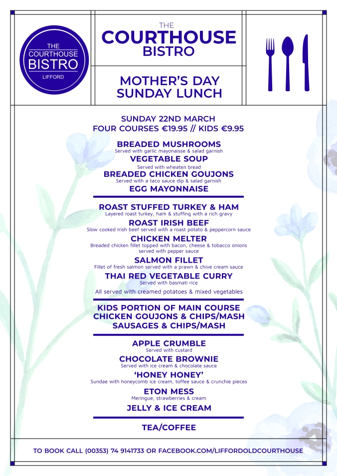 Mother's Day 2020 Menu